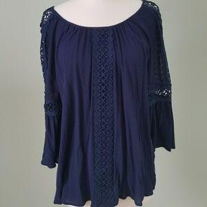 Westport blue cut out lace blouse